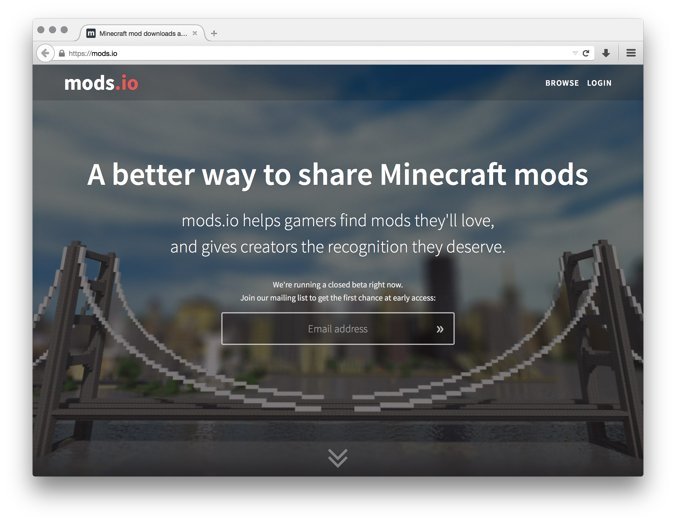 mods.io homepage